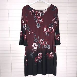 WHBM Reversible Floral/Solid V-neck Shift Dress